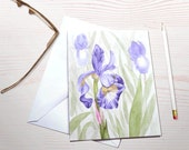 Watercolor notecards, purple iris, personal stationery, grandmothers garden, floral notecard, stationery set, watercolor garden, art reprint