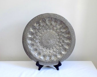 Large Hand Etched Round Silver Decorative Wall Hanging Tray - Middle Eastern Persian Style Metalwork - Ornate Detail Turkish Antique Artwork