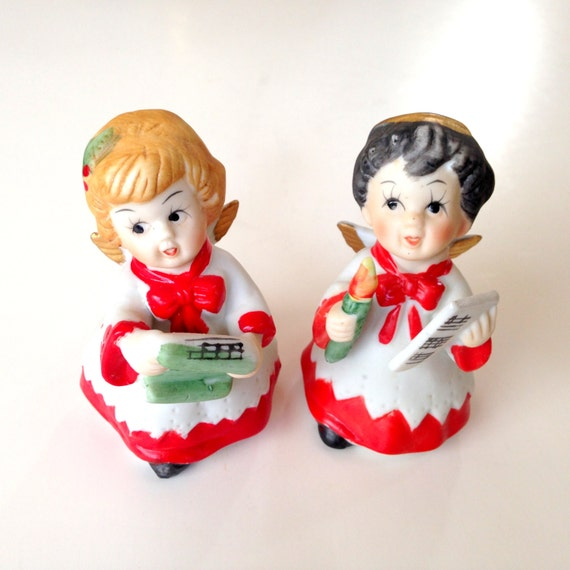 Singing Carolers Candleholders Figurines Vintage By: Items Similar To Christmas Angel Caroler Figurine Pair