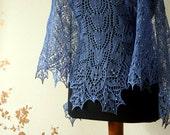 Lace shawl - beaded blue  linen shawl-  handknit shawl