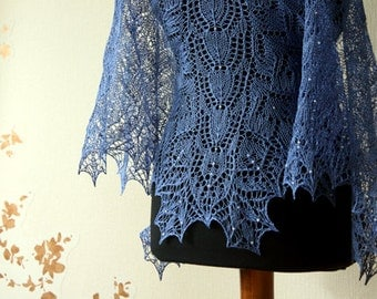 Lace shawl - beaded blue  linen shawl-  handknit shawl