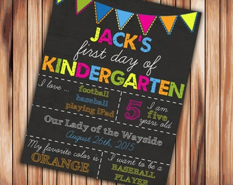 First Day of Kindergarten Sign chalkboard - Printable - Photo Prop Personalized Sign - 8x10