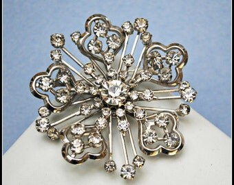Silver Rhinestone Flower Brooch Atomic brooch