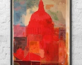 Red and Blue Acrylic Abstract Painting / Mono Print of St Paul's Cathedral / Original Signed Artwork on Wood by D McConochie