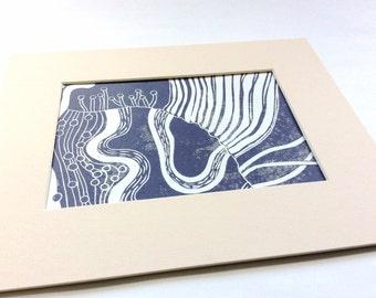 linocut - DREAM - matted to 8x10 / printmaking / block print / purple / dreamscape / contemporary