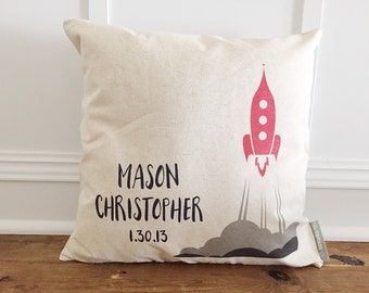 Custom Rocket Ship Pillow Cover