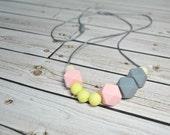 Silicone Teething Necklace - Silicone Nursing Necklace - Pastel Pink Grey Yellow - Nursing Necklace