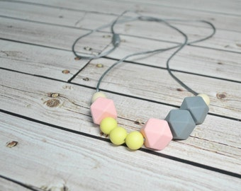 Silicone Teething Necklace - Silicone Nursing Necklace - Pastel Pink Grey Yellow - Nursing Necklace