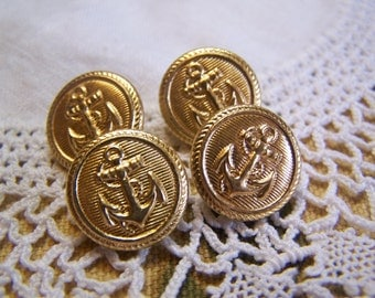 "Vintage 9/16"" Anchor Uniform Brass Tone Metal Buttons, Set of 4 (no.1698)"