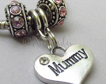 Mummy European Heart Charm Pendant And Birthstone Beads For Large Hole Charm Bracelets - Gift Idea For Moms