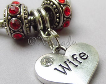 Wife European Heart Pendant And Rhinestone Birthstone Beads For Large Hole Charm Bracelets