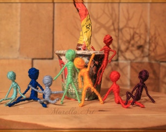 Colorful tree sculpture, colorful miniature people figures handmade