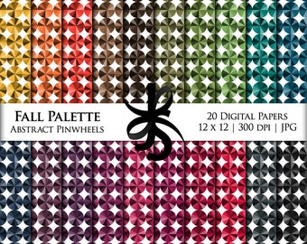 Digital Scrapbook Papers-Abstract Pinwheels-Fall Palette-Autumn-Monochromatic-Backgrounds-Wallpaper-Printable-Instant Download Clipart