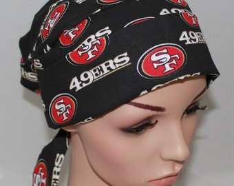 San Francisco 49ERS, Tie back Pleated Scrub Hat with band,Women's Surgical Scrub Hat,Vet, Vet Tech, OR Nurses Scrub Hat, Surgery Tech