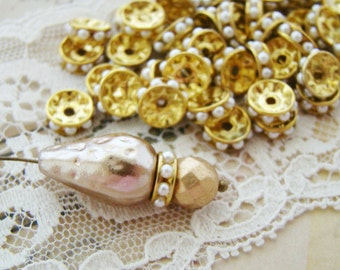 Vintage Chic Ivory Pearl & Brass 8mm Rondelle Spacer Beads - 10