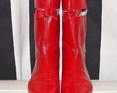 Rare Courreges Cut Out Space Age Go Go Boots / Iconic Courreges Red Leather Cut Away Boots in Original Box - Size US 8 EU 38.5 UK 5.5