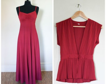 Vintage 1970s Maxi Dress Gown Two Piece Raspberry