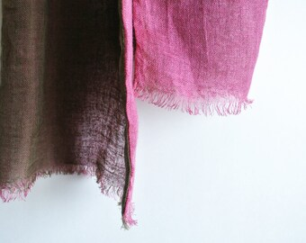 Natural (Lac / Bayberry) dyed double faced Linen scarf