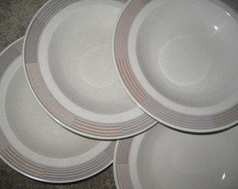 Mikasa Tracings Rim Soup Bowls  Like New Set of 4 included. Two sets avaiable. Use quantity button