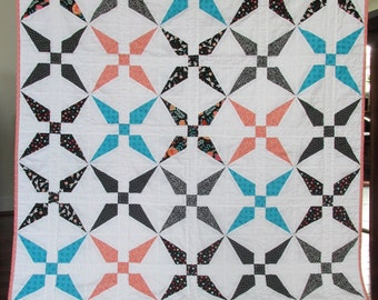 Modern geometric patchwork baby toddler girl quilt blanket black white teal peach blue pink dragonfly print floral
