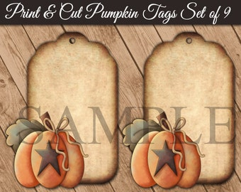 "Printable Fall Pumpkin Hang Tags - Tea Stained Look - Digital Tags - 2.5"" x 3.5"" PNG - SVG - PDF"