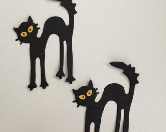 12 Pcs BLACK CAT Hand Punched Die Cuts,  Scrapbooking, Cardmaking, Table Decor