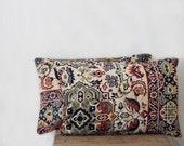 teal and cream velour pillow, anatolian pillow, 12x18, SET OF TWO,  decorative pillows, white mint cream teal blue velour pillow 42