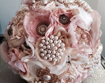 Shabby chic vintage champagne pink lace fabric and brooch antique handmade bridal wedding bouquet