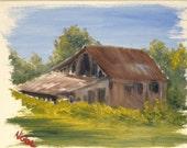 Original Rustic Landscape Nicolae Art Nicole Smith Artist Impressionism oil painting Barn Country 8x10