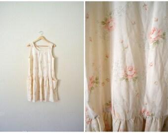 Vtg 90's Floral Cotton Dress