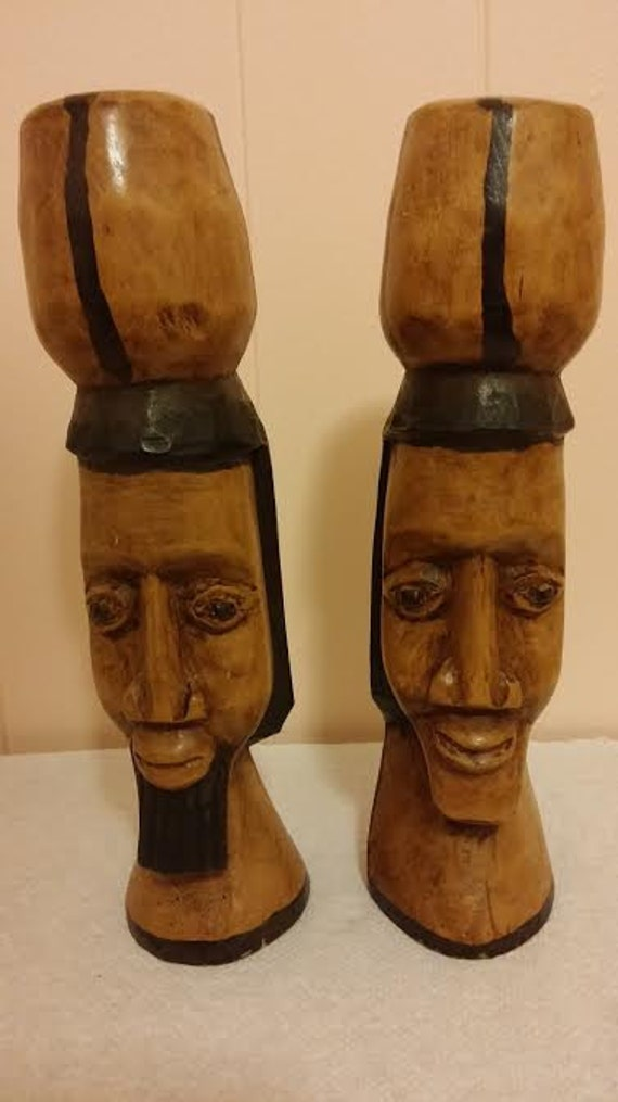 Items similar to egyptian head carvings man and woman wood