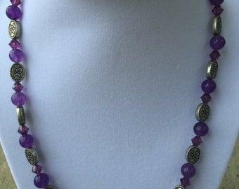 Purple Stone Bead Necklace