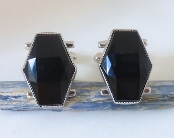 Vintage Men's 1950's Diamond Black Faceted Glass Silver Cufflinks