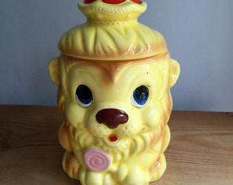 Vintage Lion Cub with Lollipop Cookie Jar