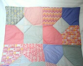 "Baby Play Mat Padded Floor Blanket Babys Room Pink Modern Patchwork Quilt Tummy Time Newborn Gift Baby Shower Nap Mat 39"" x 39"""