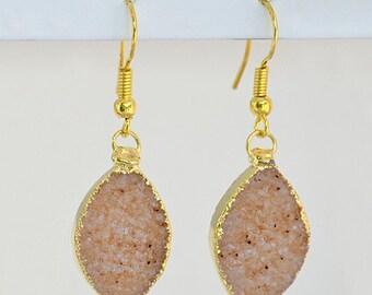 Mothers day gift - Marquise Peach Druzy Vermeil Gold bezel set Earrings - Large Gemstone Earrings - natural druzy jewelry
