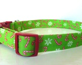 """Candy Cane Christmas Dog Collar - Green with Tiny Candy Canes - """"Candy Cane"""" - No extra charge for colored buckles"""