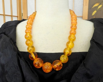 Vintage 30s Apple Juice Confetti Celluloid Bead Necklace Faux Amber Look