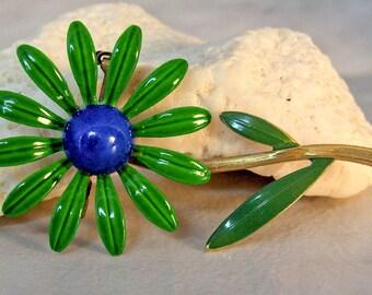 Enamel Flower Brooch   Green & Blue Daisy   Flower Pin   Flower Power