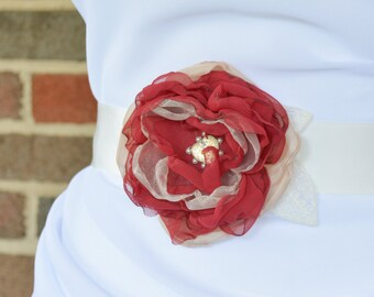 Red Bridal Sash - Red Flower Wedding Sash - Floral Bridal Sash