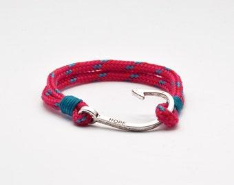 Nautical bracelet with silver hook clasp, fuchsia, magenta, turquoise