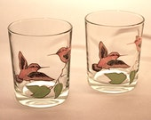 Pair of Couroc Hummingbird Old Fashioned Glasses