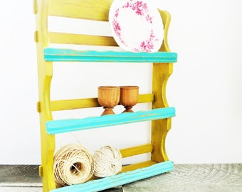 Spice Rack - Storage Shelf - Mustard Yellow Turquoise - Trendy Ombre - Vintage Upcycled