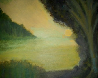 Art and Collectibles, Fine Art Giclee Print, River Sunset, Sunset, Landscape, Original Acrylic Painting By Robert Maitland, Green and Gold,
