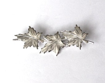 Maple Leaf Sterling Silver Brooch Pin Vintage