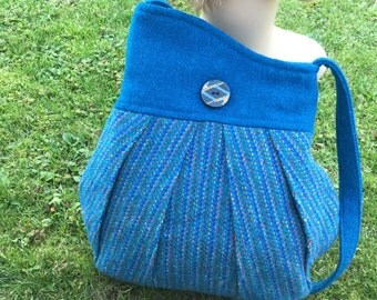Shoulder bag sewn from real Harris Tweed - turquoise blue