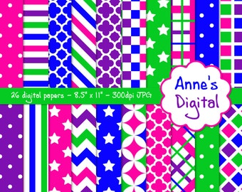 """Neon and White Digital Papers - Matching Solids Included - 26 Papers - 8.5"""" x 11"""" - Instant Download - Commercial Use (187)"""