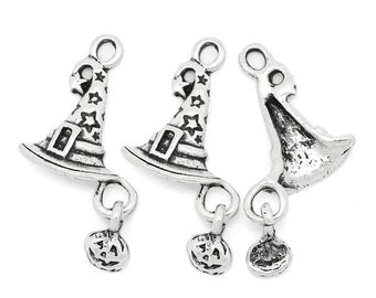 10 Pieces Antique Silver Wizard Hat Pumpkin Halloween Charms 26x14mm