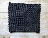 ONE Large Crochet Washcloth - 100% Cotton Wash Cloth - Handmade - Gift Idea - Black