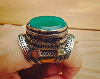 Green Jade ring- Afghan statement ring- Stone ring- Huge statement ring- Jade ring- Emerald green ring